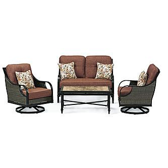 La Z Boy Outdoor Charlotte 4 Piece Seating Set Red Furniture
