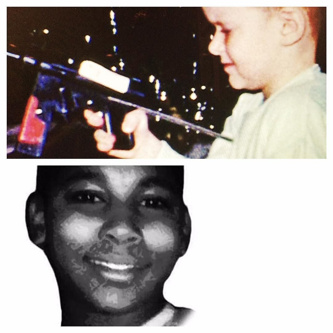 The boy with the toy gun in the top photo is me. I played with lots of toy guns running all around the neighborhood with them until I was 12. The boy in the bottom photo is Tamir Rice. He too played with toy guns. But he was shot dead for doing so one year ago today by the Cleveland police. He was 12. Now think hard... What was the difference between Tamir and me? Hmmm... #YearWithoutTamir #whiteprivilege by michaelfmoore