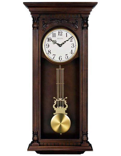 Bulova Norwood Ii Wall Clock Triple Chime Brown Cherry Finish Pendulum Wall Clock Chiming Wall Clocks Clock