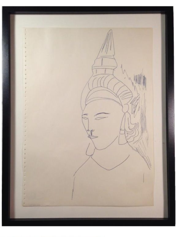 andy warhol untitled, 1950s Bangkok, stamped with the estate of andy warhol, and the andy warhol foundation for the visual arts, inc. numbered '219.003'(on the reverse)  ink on paper. 14 x 10 3/8in. (35.5 x 33.9 cm.)   provenance: andy warhol foundation. christies, 2012  contact gallery for price. vh@hemphillgallery.com