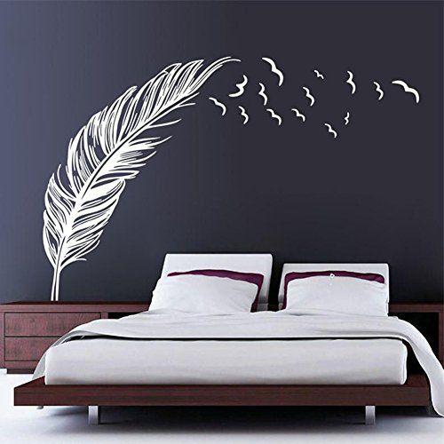 Chendongdong Creative Chambre Oiseaux Volants Plumes Home Sticker Mural En Vinyle Wanddekor Schlafzimmer Wandtattoo Schlafzimmer Einrichtungsideen Schlafzimmer