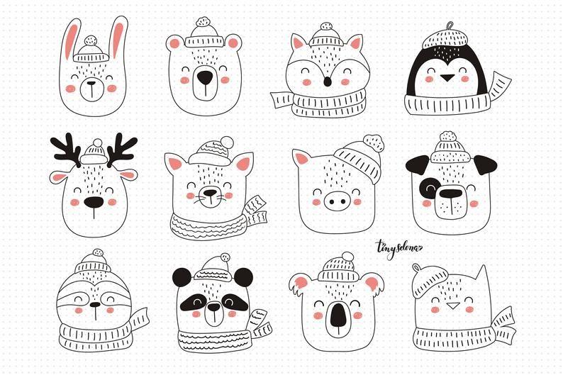 Christmas Clipart Christmas Animals Svg Winter Holiday Etsy Christmas Drawing Christmas Animals Christmas Clipart