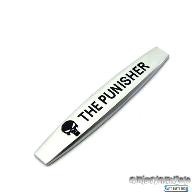 The punisher skull sticker rear boot trunk emblem for car metal side wing sticker 273