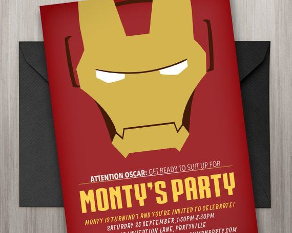 Iron Man Invitation Printable Edit Print As Many Copies