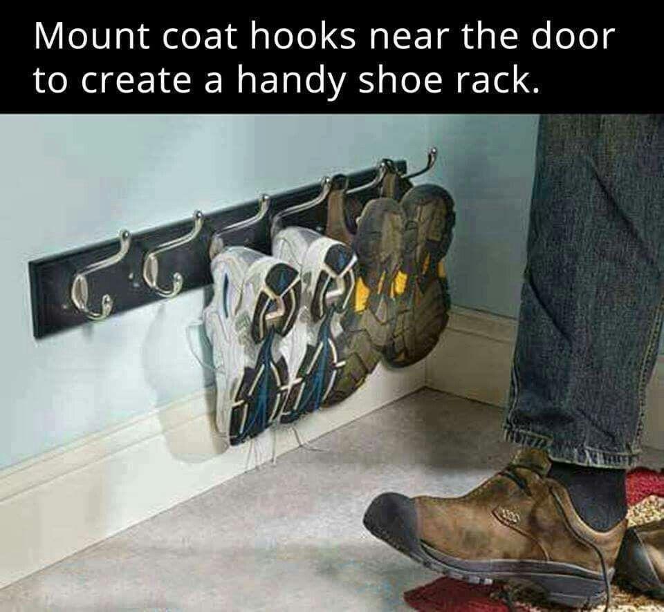Hallway hooks and storage  coat hooks for a shoe rack at home  DËÇØRÃTĖ  Pinterest  House