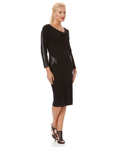 6ac128d932c3 Women's Clothing | 30% Off Select Dresses | Cowlneck Faux Leather Trim  Sweater Dress | Lord and Taylor