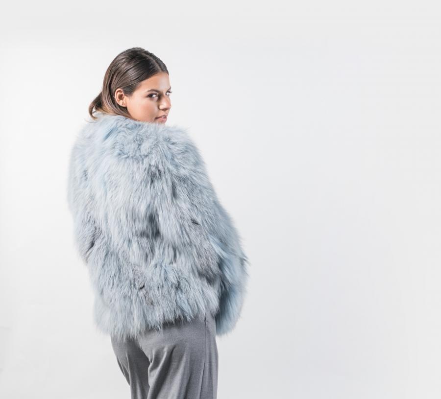 0175d839b2 Light Blue Fox Fur Jacket | Furs 8 | Fox fur jacket, Fur jacket, Fur