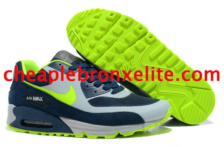 promo code 1b94a 96a03 Nike Air Max 90 Shoes Dark Blue Grey Fluorescent Green 333888 430