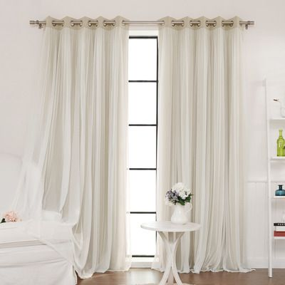 Best home fashion inc lace tulle overlay blackout - Blackout curtains for master bedroom ...