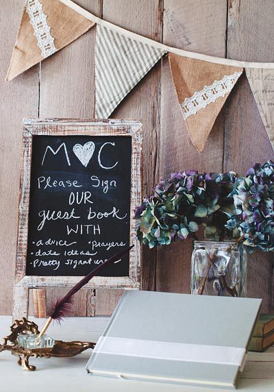 rustic wedding guest book ideas for fall weddings chalkboard sign from blue sky papers