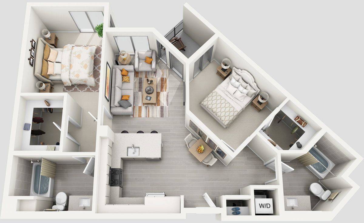 Thoughtskoto 50 3d Floor Plans Lay Out Designs For 2 Bedroom House Or Apartment Apartment Layout Apartment Floor Plans Two Bedroom House