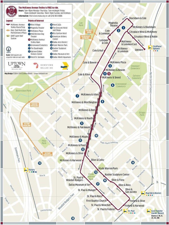 map of uptown dallas Trolley Mckinney Avenue Transit Authority M Line Dallas Tx map of uptown dallas