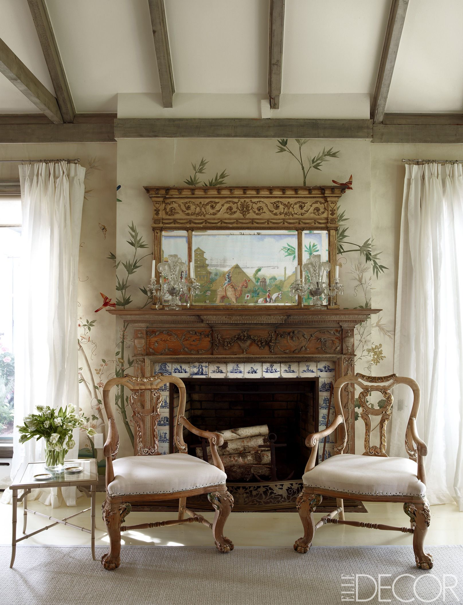 The living room fireplace with a surround