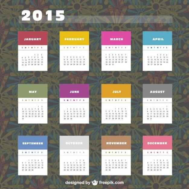 Calendario de 2015 con etiquetas de colores.  Vector Gratis.