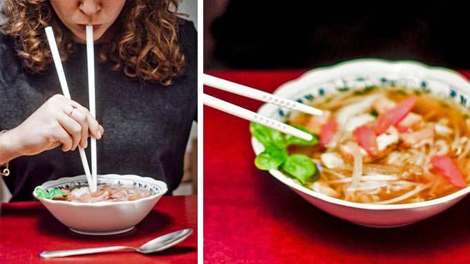 Chop Sticks are straws, Epic idea! Soup sticks by Julian Lechner