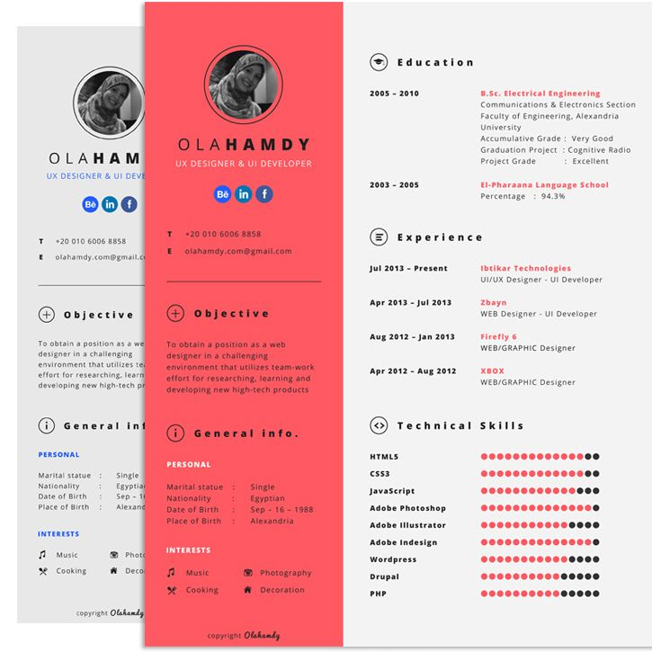 freebiesquest free clean interactive resume by ola hamdy free
