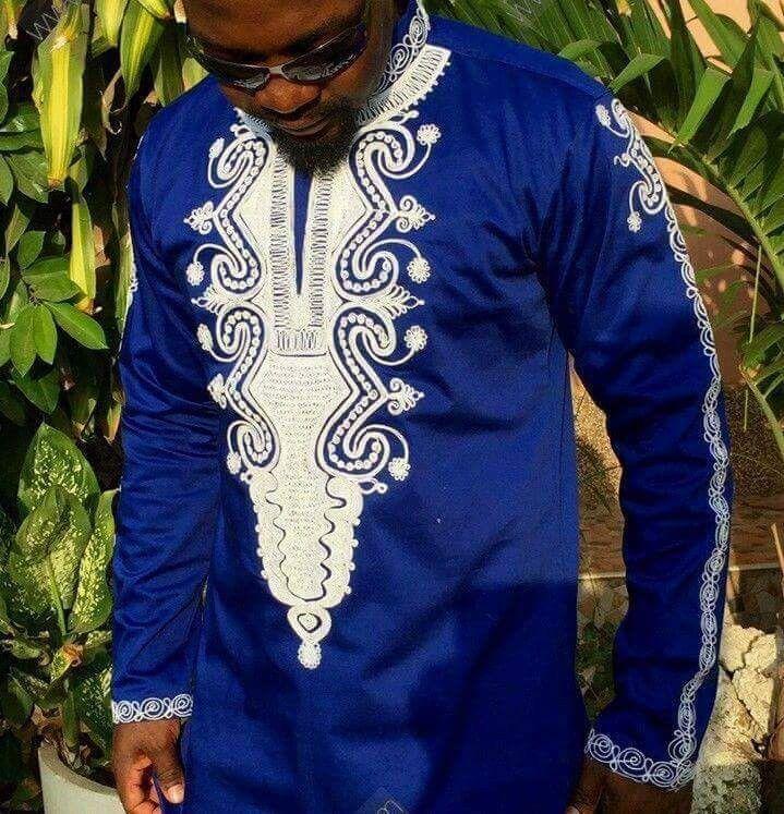 Mens Long Sleeve African Embroidery Dashiki Motha Land Dashiki