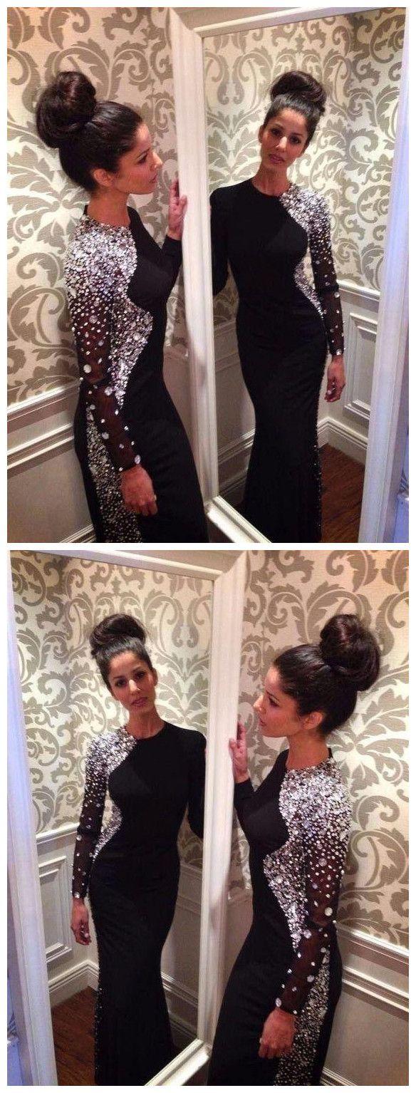 prom dress black trumpetmermaid scoop beading modest long prom