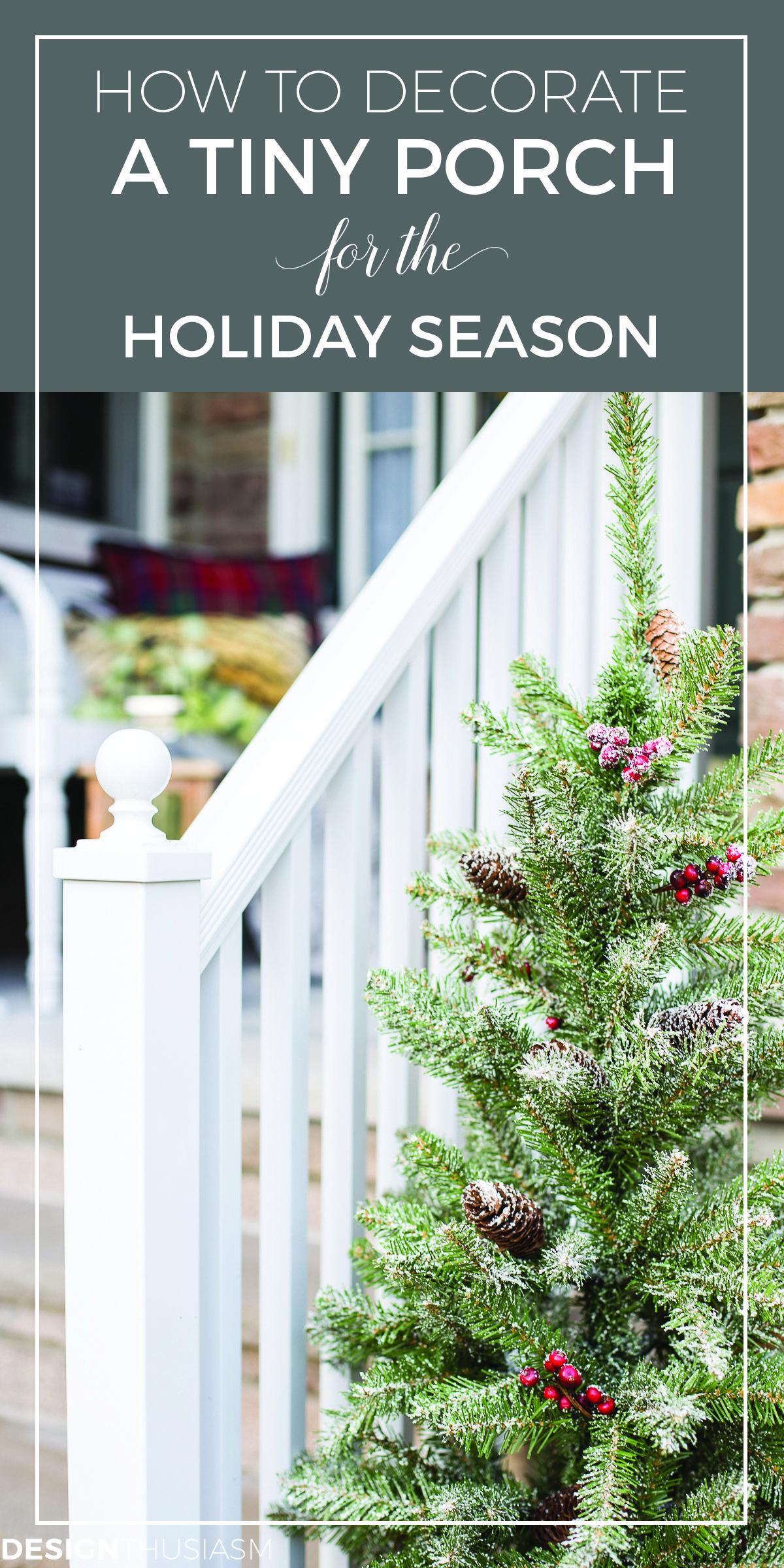 Easy Outdoor Christmas Decorating Ideas For A Tiny Front Porch Outdoor Christmas Christmas Porch Decor Diy Holiday Decor