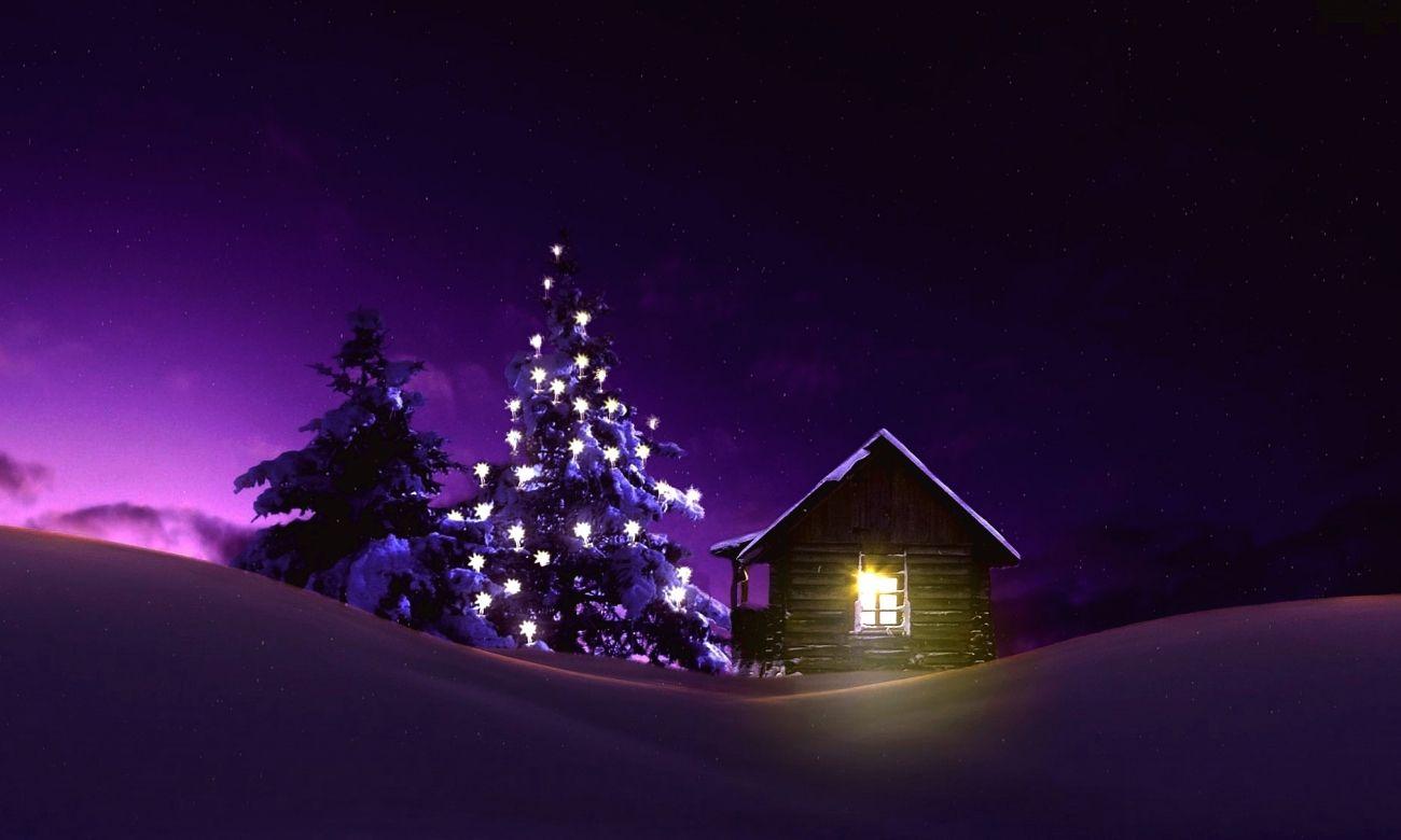 Christmas wallpaper lighted tree outside winter cabin