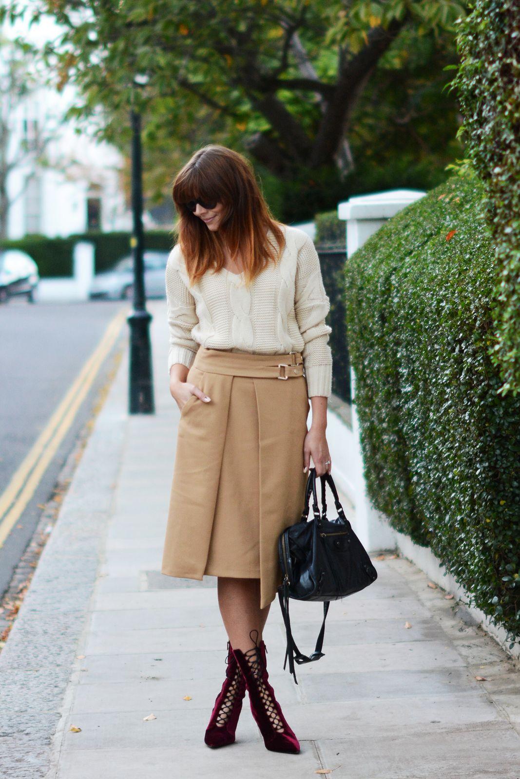 Emma Hill October 29, 2014 | EJSTYLE - OOTD Zara Camel wrap skirt ...