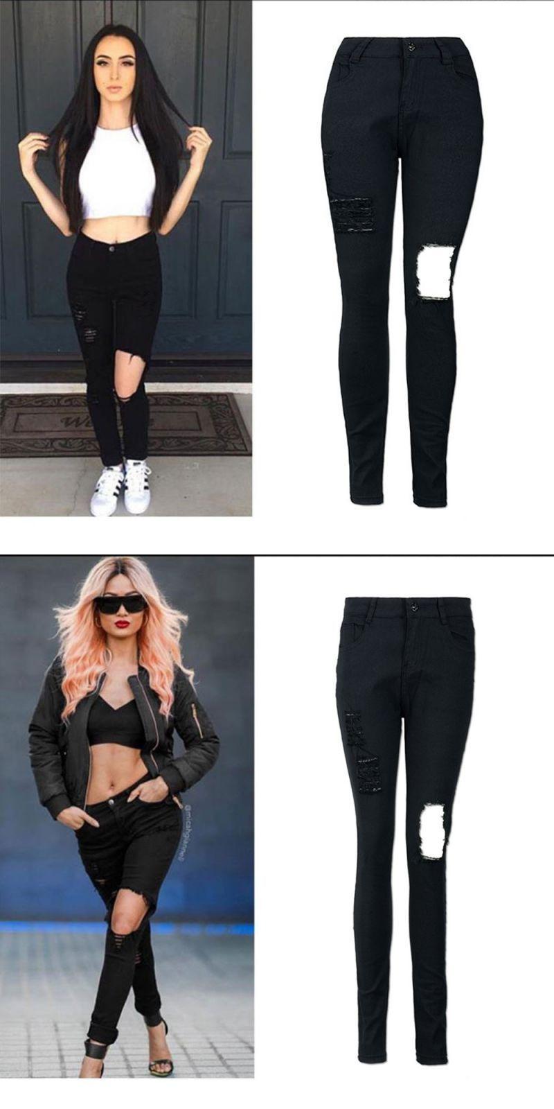 dc8804a41d81 Women s fashion high-waist solid color hole jeans skinny denim pants  stretch jeans slim black full length pencil pants  jeans  women  pencil   pants  light ...