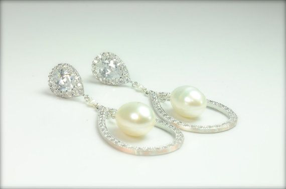 Stunning CZ and Pearl Bridal Earrings by LillyputLaneDesignCo, $148.00