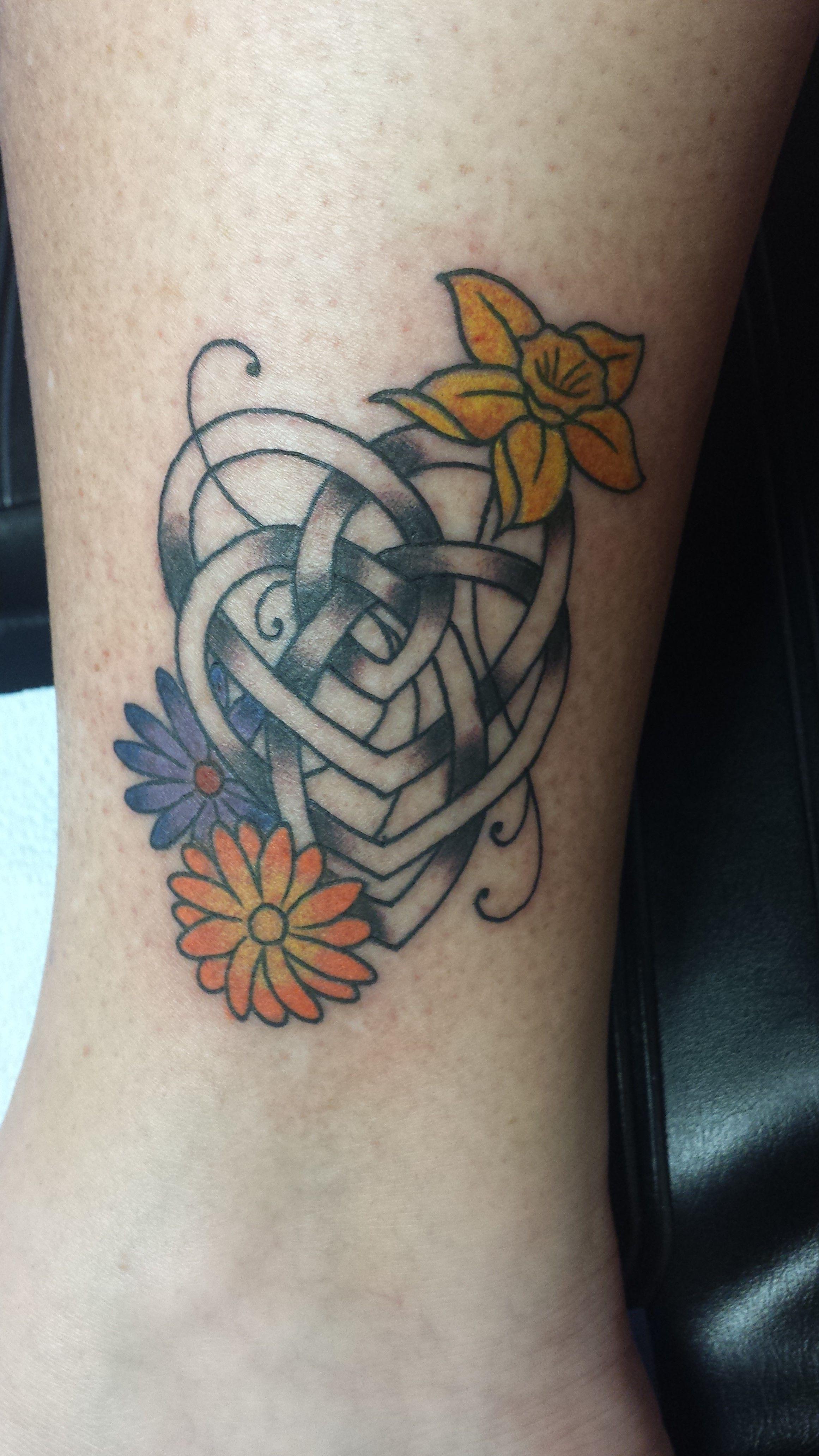 My Latest Tattoo Celtic Symbol For Motherhood With My Girls Birth Flowers Birth Flower Tattoos Tattoos Flower Tattoo