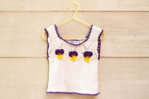 KNITTING PATTERN, PDF,  Baby Singlet Top,  Baby Vest Knitting Pattern, Lace Singlet Pattern, Crochet Pansy Flower, Retro Baby Top Pattern