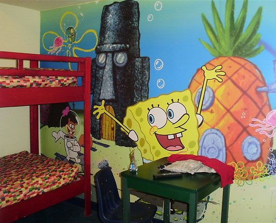 Exceptionnel Rooms With Wallpaper | Room Designs SpongeBob SquarePants Themed Kids Room  With Wallpaper .