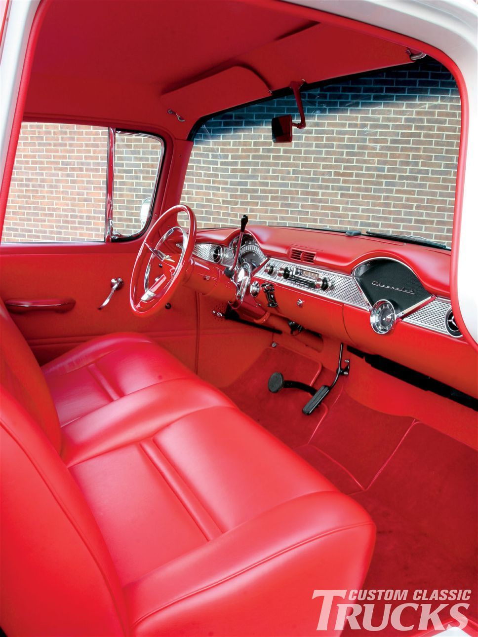 custom interior 1955 chevy cameo pickup truck vintagetreasures 55chevy vintage treasures. Black Bedroom Furniture Sets. Home Design Ideas