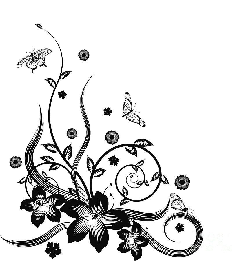 Flower clip art black and white designs great cake side painting idea diy craft pinterest - Design art black and white ...