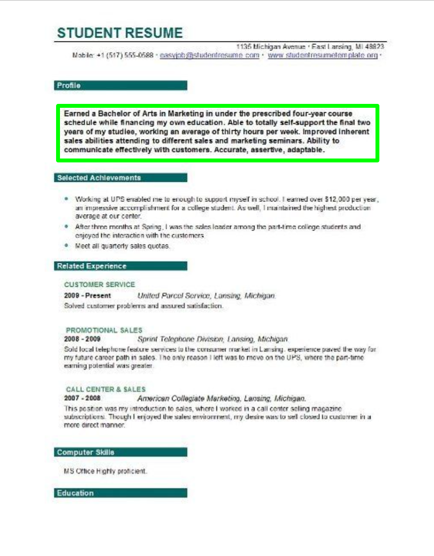 Student Resume Objective For College