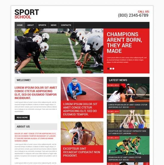 Sport-School-Responsive-Website-Template Inspirational Web Designs