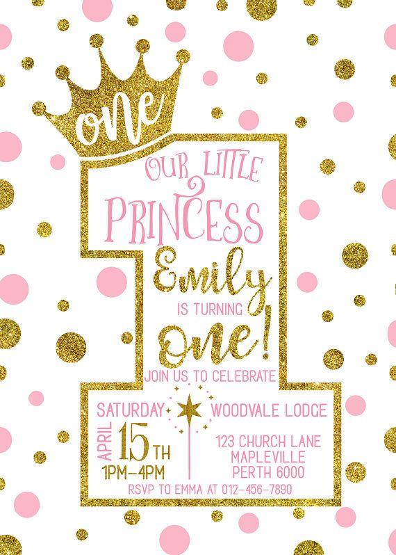 1st Birthday Invitation Princess 1st Birthday Invitation