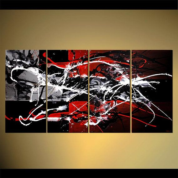 Original contemporary abstract acrylic painting x osnat red gray black white acrylic painting partially textured made to order