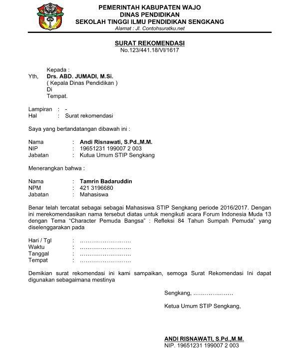 Kerangka surat rekomendasi sekolah pun tidak jauh berbeda dengan beberapa jenis surat reko Contoh Surat Rekomendasi Kepala Sekolah