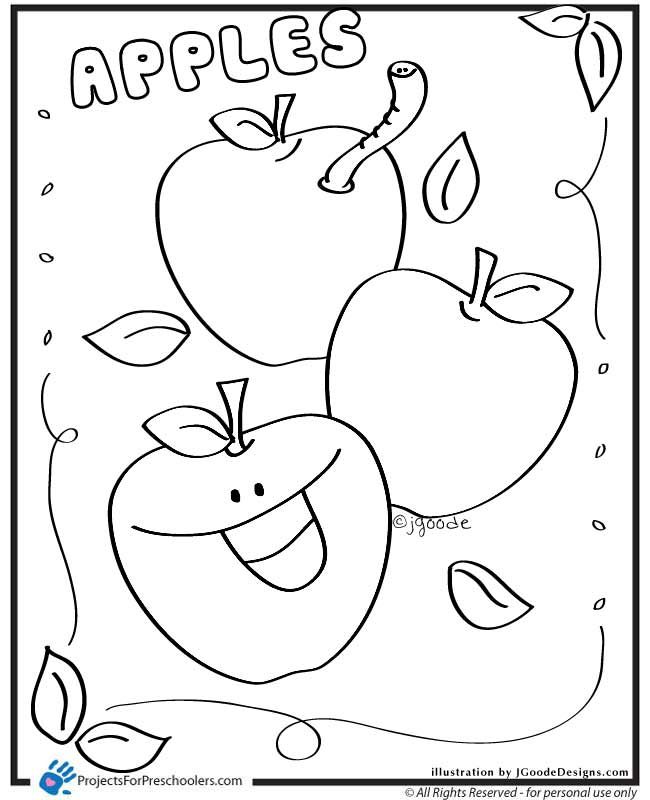 A Is For Happy Apple Coloring Page With Images Apple Coloring