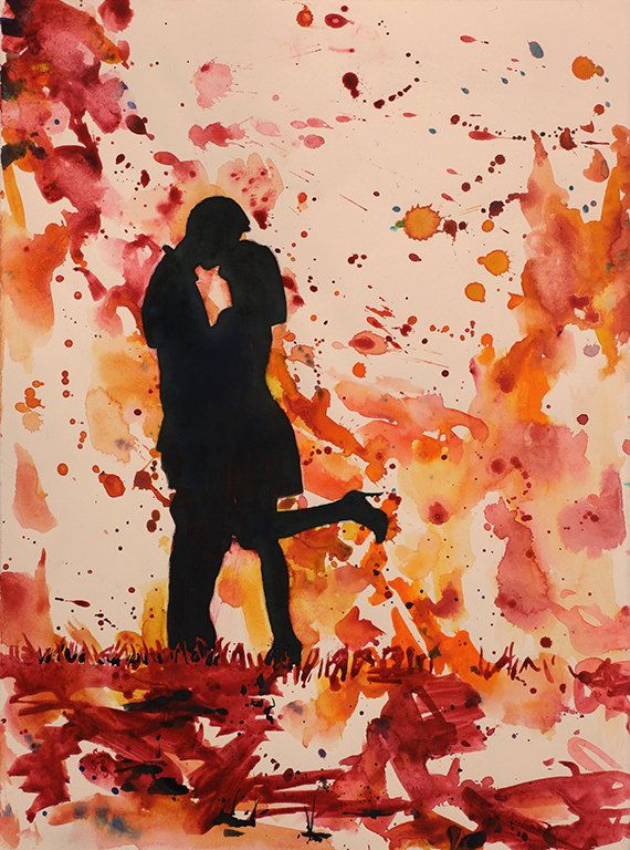 Couple Kissing Watercolor Painting Romantic Art Valentines Day
