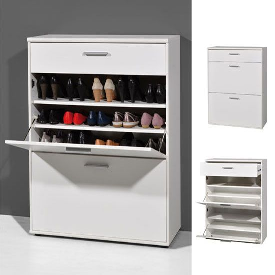 Wonderful Big Foot Wooden Shoe Storage Cabinet In White
