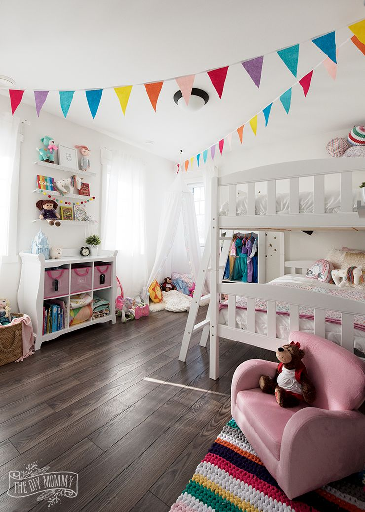 A Modern Rainbow Toddler Bedroom Makeover Reveal The Diy Mommy Toddler Bedroom Makeover Toddler Bedrooms Girls Rainbow Bedroom