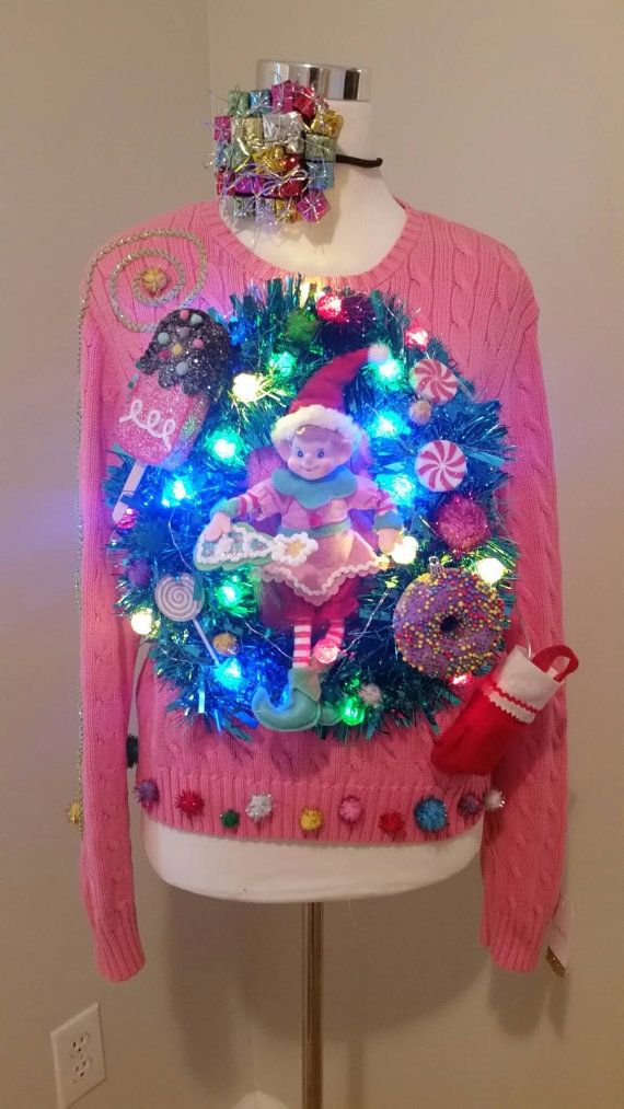 die besten 25 diy ugly christmas sweater with lights ideen auf pinterest h sslicher. Black Bedroom Furniture Sets. Home Design Ideas