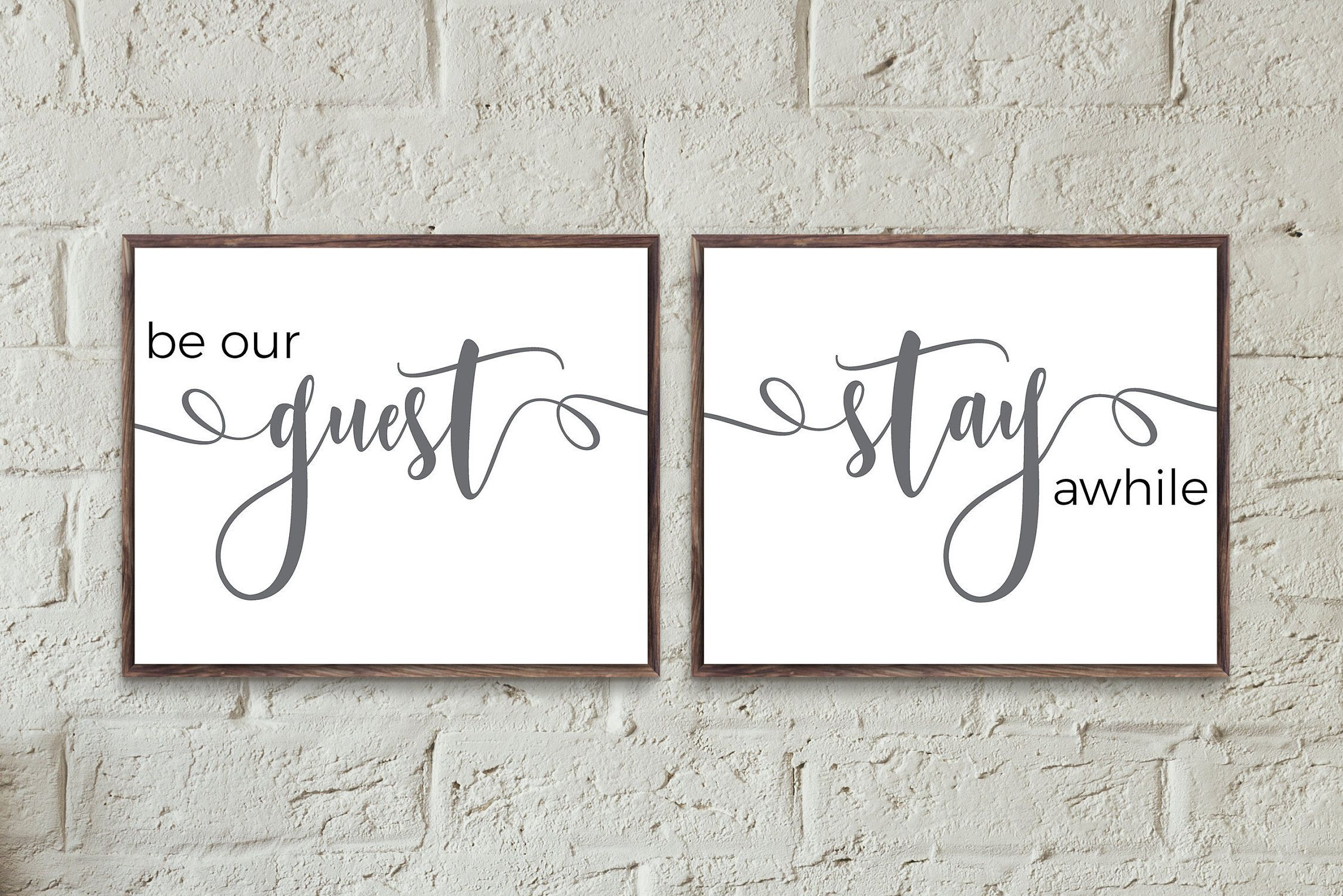 Guest Room Print Be Our Guest Stay Awhile Guest Bedroom Wall Decor