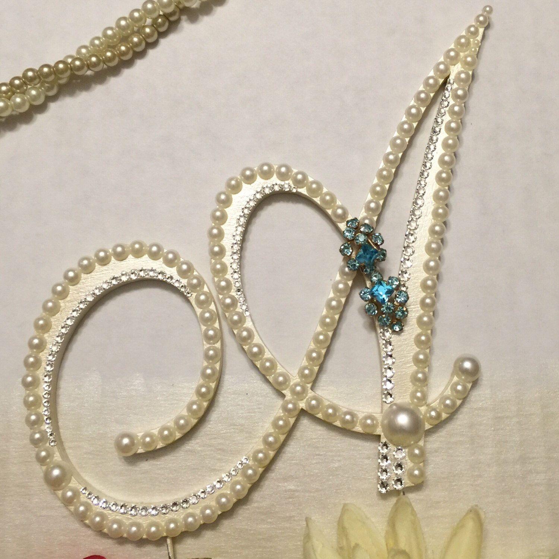 Pearl Wedding Cake Topper Monogram W Swarovski Crystals Letter A Resort Destination