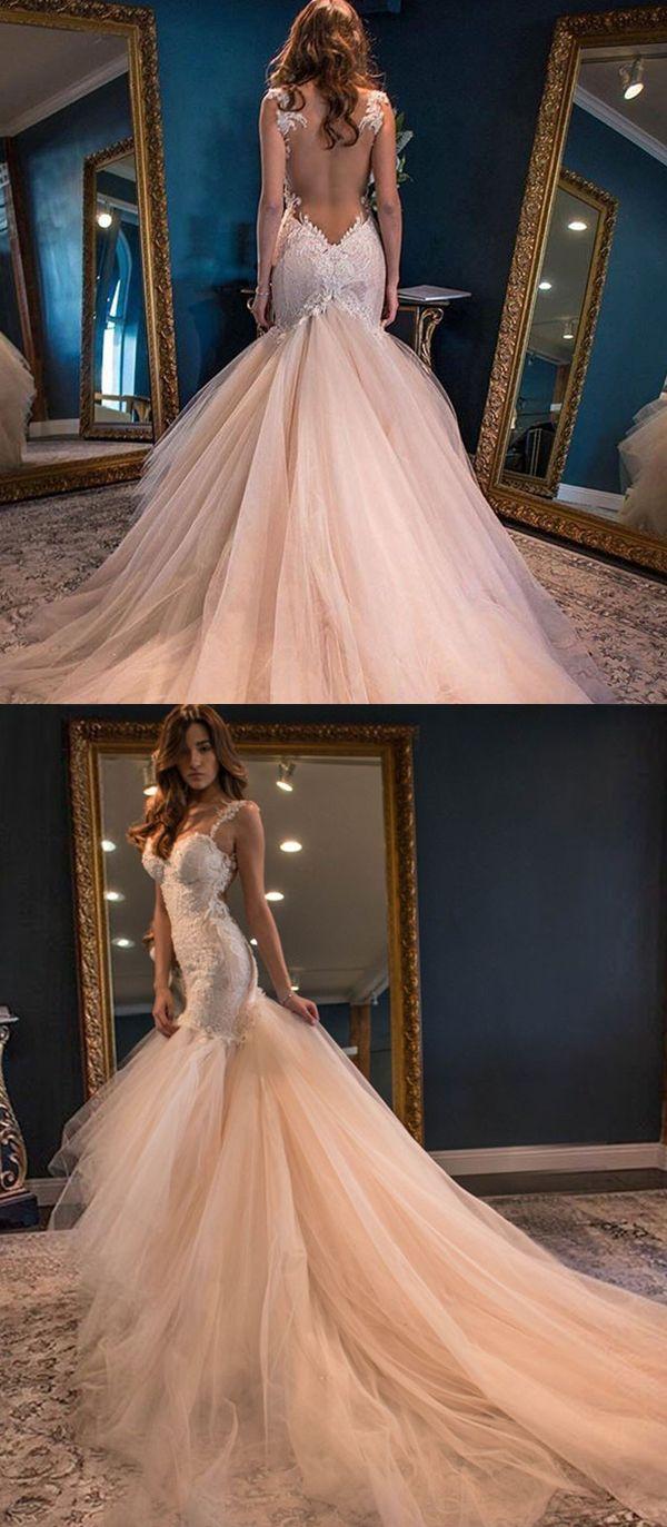 Elegant sweetheart watteau train mermaid wedding dress backless with