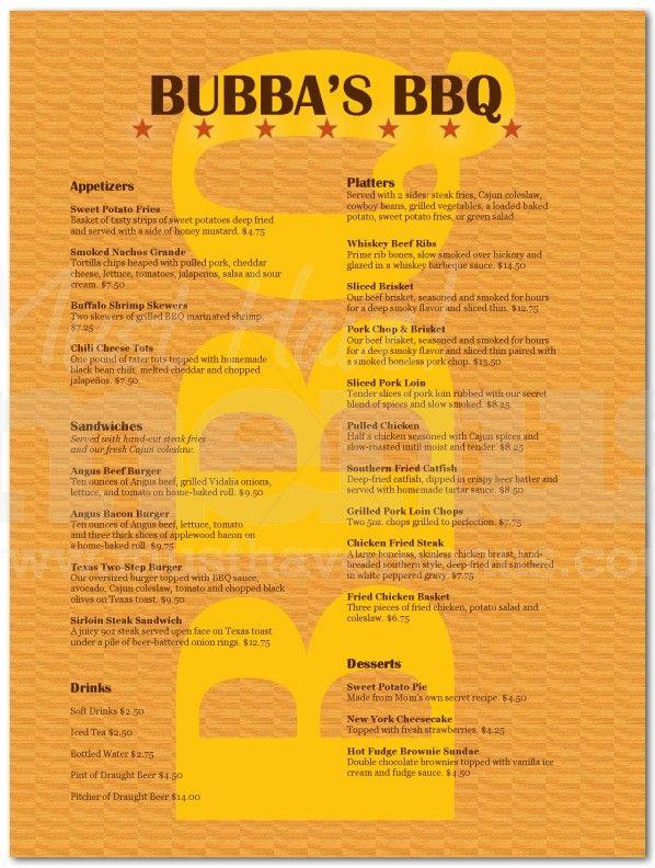 Barbeque Restaurant Menu Page 1 Restaurant In 2019