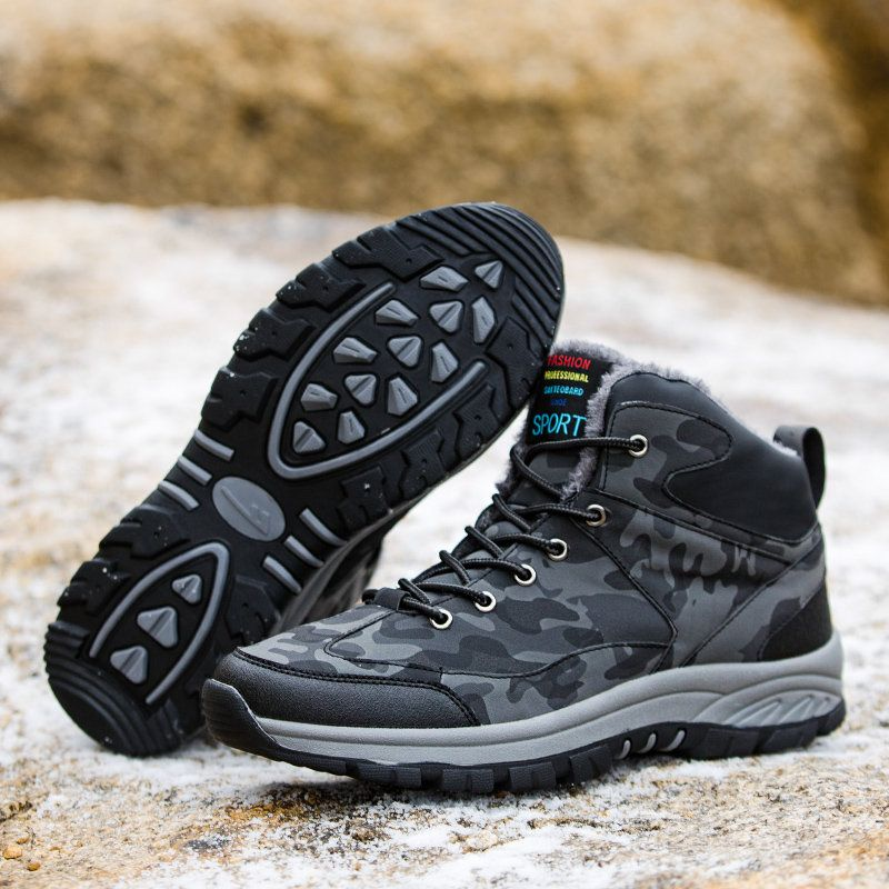 b111f659 Large Size Men Plush Lining Leather Non-slip Outdoor Casual Hiking ...