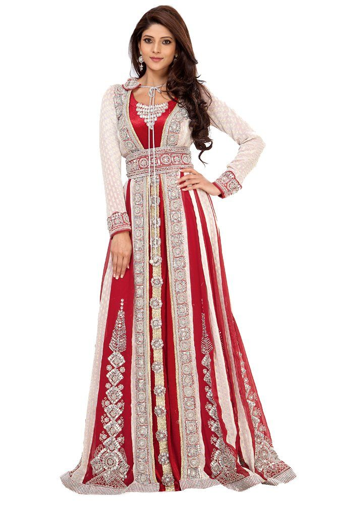alternative wedding dress white and red wedding dress Palas Fashion