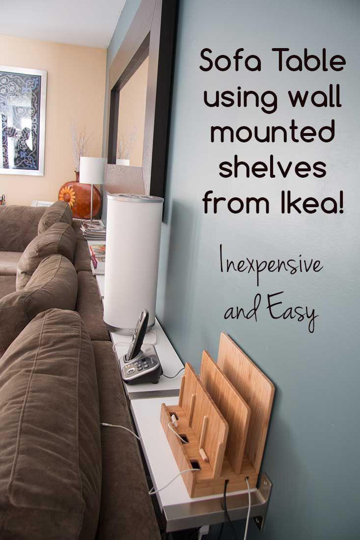 building a sofa table using ikea ekby wall mounted shelves decorative ideas pinterest. Black Bedroom Furniture Sets. Home Design Ideas