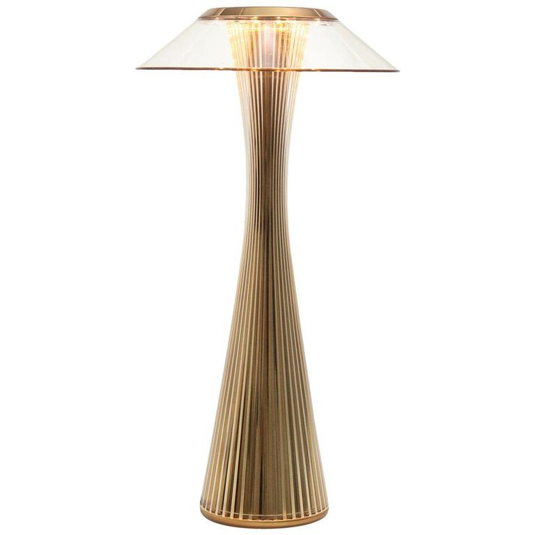 Kartell Space Lamp In Gold With Clear Shade By Adam Tihany In 2021 Lamp Kartell Modern Table Lamp